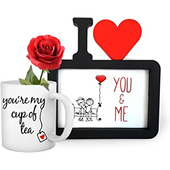 TIED RIBBONS Romantic Gift for Husband, Boyfriend I Love You Photo Frame(Image Replaceable) with Coffee Mug(325ml) and Red Rose