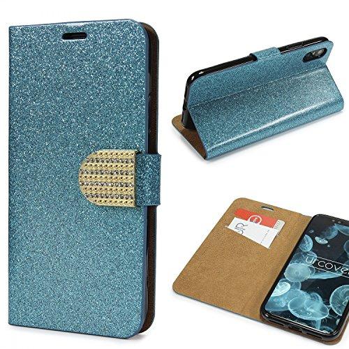Urcover Custodia iPhone X Glitter Wallet Case TPU in Azul, Protettiva Portafoglio Apple iPhone X Chiusura Magnetica con Strass