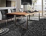 SAM® Esszimmertisch 200x100 cm Ida, echte Baumkante, massiver Esstisch aus Akazienholz, Metallbeine silber, Baumkantentisch