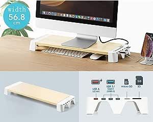 Vivocfan Holz Schreibtisch Monitorständer Riser Usb Computer Zubehör