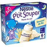 Nestlé Bébé P'tit Souper Douceur de Riz - Soupe du Soir dès 6 Mois - 2 Briques de 250ml - Lot de 3