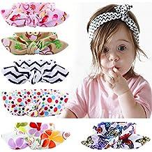 Niña de diademas, Flyfish 6-Pack assorted-color bebé niñas niños conejo lazo nudo turbante Diadema Diadema Headwrap Headwear para fotografía Props, disfraz, fiesta