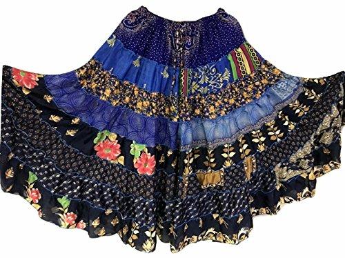 Tribal Gypsy Maxi Tiered Rock Bauchtanz Röcke Silk Blend Banjara Passend für S M L 383