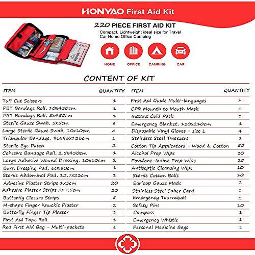 6152N92HTmL - HONYAO Botiquín de Primeros Auxilios, Bolsa Médica de Emergencia - Kit de Supervivencia para el Hogar, Automóvil, Campamento, Oficina, para Viaje y Deportes Al Aire Libre