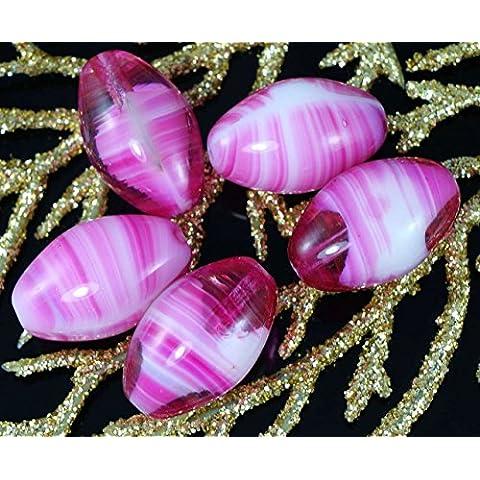 Strisce Rosa Bianco Vetro ceco in Tubo Ovale di Grandi dimensioni di Oliva Perline 18mm x 11mm 4pcs
