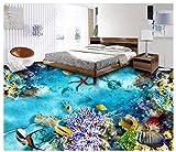 PVC Tapete 3D Wandbild Tropische Bodenfliese Der Fische 3D Der Meeresgrundmeerespflanze Bodenmalerei 400x280cm