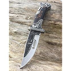 Precioso cuchillo de caza Auvex - cuchillo plegable– cuchillo de cazador con estampado de cazador y perro