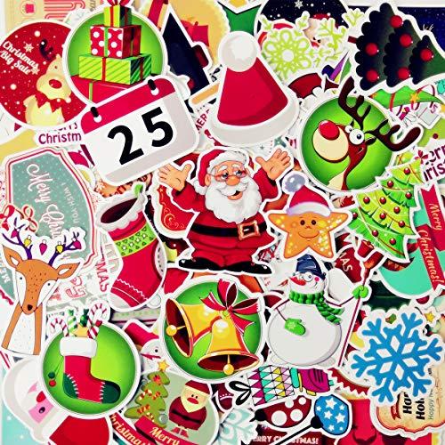 AhaSky [100pcs] Aufkleber, Weihnachten Sticker Set Wasserdicht, Stickerbomb für Auto Motorräder Laptop Fahrrad Skateboard Snowboard Gepäck (Weihnachten Dekoration Schlitten)