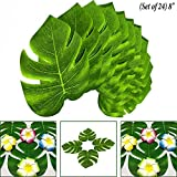 Green (Set of 24) : Adorox 24 pcs Coated Fabric Artificial Tropical Green Plant Leaves Hawaiian Luau Party Decoration (Green (Set of 24))