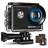 Dragon Touch Caméra Sport 4K Vision 4 Lite Ultra HD Wi-FI 20 MP avec Télécommande,Appareil Photo Stabilisateur EIS Étanche 30