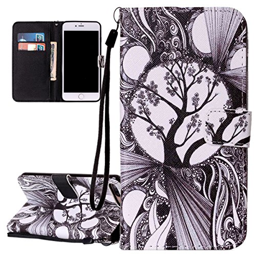 Hülle für iPhone 7 Plus, Tasche für iPhone 7 Plus, Case Cover für iPhone 7 Plus, ISAKEN Malerei Muster Folio PU Leder Flip Cover Brieftasche Geldbörse Wallet Case Ledertasche Handyhülle Tasche Case Sc Baum Schwarz
