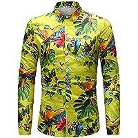 WULIFANG Camisas De Hombres Flor Grande Suave Imprimir Manga Larga Camiseta Slim Casual De Negocios De Casual De Hombres Camiseta Hawaiana Amarillo XL