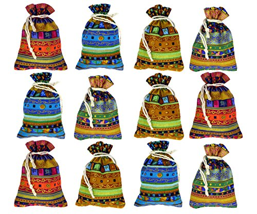 tel Geschenk-Beutel Säckchen mit Kordelzug/Tunnelzug im ethnischen/azteken/ägyptischen Stil als Geschenk-Päckchen oder für Hochzeit Party Süßes Reisen ()