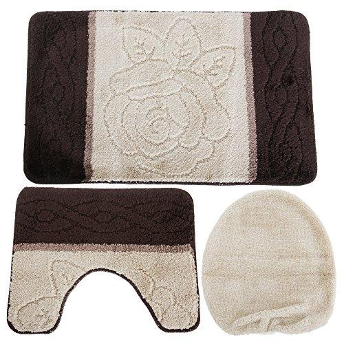 Universal-Textiles Blumenmuster Design Badematten Set 3-teilig (50cm x 80cm) (Braun) -