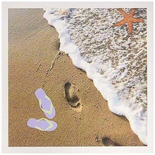 3dRose Set mit 12 Grußkarten, Aufdruck von Fußstapfen, Flip-Flops und Seestern in der Nähe des Ozeans (gc_182516_2)
