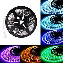 LEDMO Striscia LED RGB 5 metri, led strip rgb 5050-300led,strice led Multi-colori 12V 4500lm,IP20 Non-impermeabile,strisce led rgb 5 metri, installato in un armadio in salotto e va bene, dà buona luce.(alimentazione 12V 5A non inclusa)