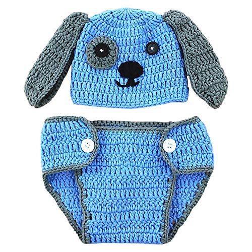 Aediea Baby-Kappe, für Neugeborene, für Jungen und Mädchen, handgewebt, mit Hundemotiv