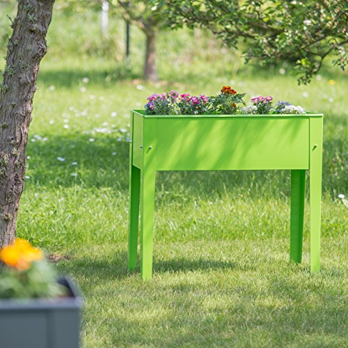 2x Hochbeet, 4 Beine, Pflanzkübel, Kräuterbeet, Blumenkübel, Frühbeet, Metall, H x B x T: ca. 80,5 x 81,5 x 31 cm, grün
