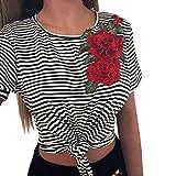 Internet Damen Sommer Kurzarm T-Shirt O-Ausschnitt Streifen Blumenmuster Tops Bluse Shirt Frauen Mode Blumen Tops Bluse Beiläufig Tanktops Pullover T-Shirt (Schwarz, S)