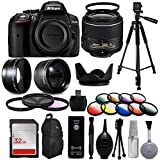 Nikon D5300digitale DSLR Kamera + 18–55mm VR II + Weitwinkel mit Fisheye und Makro-Effekte + 30PC-Zubehör Bundle + 152,4cm Stativ + 32GB + Fernbedienung + UV-Filter + Teleobjektiv + Reinigungsset + mehr