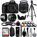 Nikon D5300digitale DSLR Kamera mit 18–55mm VR II, Weitwinkel mit Fisheye und Makro-Effekte, 30Zubehör-Teilen, 152,4cm Stativ, 32GB, Fernbedienung, UV-Filter, Teleobjektiv, Reinigungsset und mehr