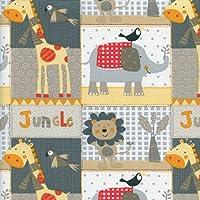 Tela para niños - La familia de la selva - rojo, amarillo, naranja, gris, beige, arena, gris pardo y blanco - 100% algodón suave | ancho: 160 cm (por metro lineal)*