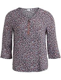 Object Ada Damen Chiffon Bluse mit Print und Reißverschluss | Dünne Chiffon-Bluse aus Viskose langarm V-Ausschnitt Punkte