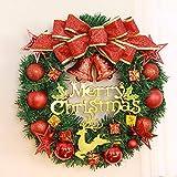 RALCAN Weihnachten Hirsch Geflochtene Garland Tür Hängen Künstliche Weihnachtskugel Vine Kreis Urlaub Hochzeit Dekoration, 30 cm
