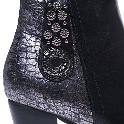 La Modeuse - Bottines à talon en simili cuir bout rond effet métallisé Noir
