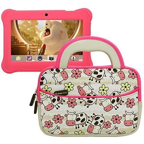 Evecase Alldaymall Schutzhülle für 17,8cm (7Zoll) Android Tablet für Kinder, Motiv Kuh Happy Farm Neopren-Schutztasche/Neopren-Schutzhülle/Tragetasche mit Dual-Griff und-Zubehör Pocket–White w/Pink Trim (Messenger Trim)