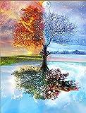 5D-Diamanten-Bild-Set zum Selbermachen, Motiv: magischer Baum mit Spiegelung, Kristall, Stickerei, Kreuzstich, Kunst, Basteln, Leinwand-Dekoration