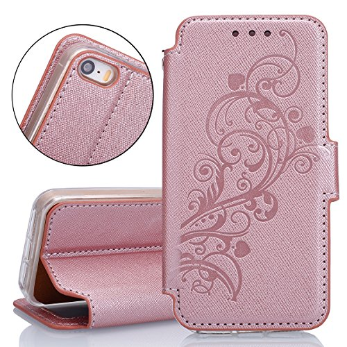 Custodia per Apple iPhone SE, ISAKEN iPhone 5S Flip Cover, iPhone 5 Custodia con Strap, Elegante Sbalzato Embossed Design in Pelle Sintetica Ecopelle PU Case Cover Protettiva Flip Portafoglio Case Cov Vine: rose gold