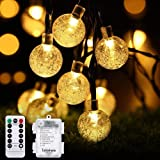Tobbiheim LED Lichterkette Batteriebetrieben Kristall Kugeln, 30er LED 6 Meter Außenlichterkette Wasserdicht Beleuchtung mit Fernbedienung für Garten, Party, Weihnachten, Outdoor, Fest Deko - Warmweiß