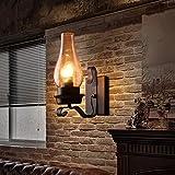 LIGHT BYJUM Lampe Applique Murale Rustique Vintage en Verre et métal Lumière d'ambiance Lampe de décoration pour Chambre Studio,Black