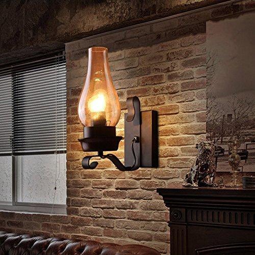 ZY-Pight Retro Vintage Schwarz Ein Licht Metall Wandleuchte mit Glas Schornstein Schatten E27 (Ohne Glühbirne) [Energieklasse A+] (Schatten Schornstein)