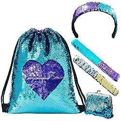 LURICO Mermaid Reversible Lentejuelas Drawstring Mochila Brillante Bolsa de Hombro al Aire Libre
