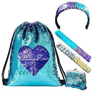 61534pihXML. SS300 LURICO Mermaid Paillettes Zaino Borsa Paillettes Reversibili con Lacci Glittering Outdoor Tracolla Glitter Coulisse…