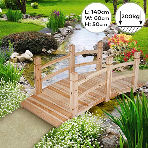 Holzbrücke | 140x60x53cm, mit Geländer, bis 200kg belastbar | Teichbrücke, Gartenbrücke, Holzsteg, Zierbrücke, Dekobrücke