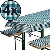 4x Bierbankauflagen-Set 3-teilig in grün: 1 Tischdecke 130 x 70 cm + 2 gepolsterte Bierbankauflagen 110 x 25 cm