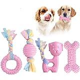 Giocattoli da masticare per cuccioli JYPS, set di giocattoli per dentizione per cani 4 pezzi con in cotone e palla, giocattol