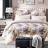 dushow Tencel Lyocell Baumwolle 3Stück Bettbezug und Kissenbezüge Bettwäsche-Sets, hypoallergen atmungsaktiv weiches Mikrofaser Print Muster, Fan, Doppelbett
