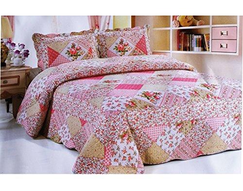 A-Express Rosa Patchwork patchworkdecke Tagesdecke mit 2 Kissenbezüge Bettüberwurf Sofaüberwurf Überwurf Decke Gesteppt Steppdecke 230 x 250 cm