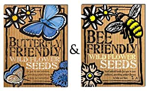Bee and Butterfly Friendly Wild Flower Seeds Duo Pack