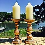Il candeliere rustico Stockbridge tornito arrotondati, set di 2colonne, legno sostenibile, effetto invecchiato con stile vintage bianco Wash, 9H x 4D cm, by whole House Worlds