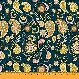Soimoi Blau Baumwoll-Voile Stoff Mandala & Paisley Stoff