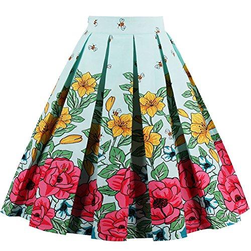 Women Vintage Retro Floral Print 1950s A-Line Midi Skater Skirt,Mint,S