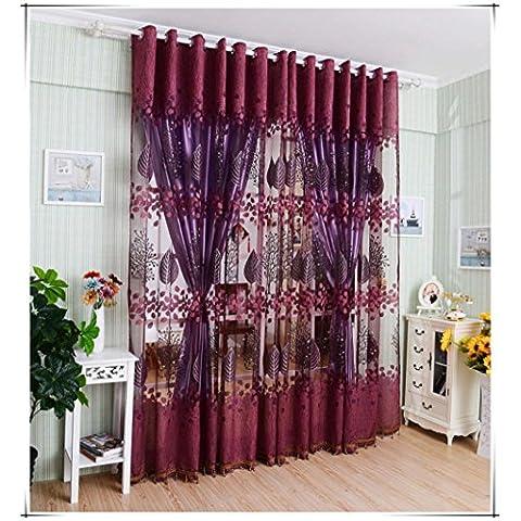 Tongshi Hoja hueco Window Screens Sheer Cover puerta del balcón de muro cortina (Rojo)