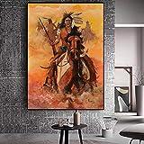 Geiqianjiumai Abstrakte indische eingeborene Pferdevogel-Feder-Plakate und Drucke, die Ölgemälde-Wohnzimmer-Wandbild-Kunst malen