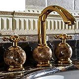 WP European-style Dreilochbatterie/Antique Rose Gold Marmor-Waschbecken Wasserhahn heißen und kalten Jade-B