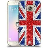 Head Case Designs Rouge Et Bleu Scintillent Collection Union Jack Étui Coque en Gel molle pour Samsung Galaxy S7 edge